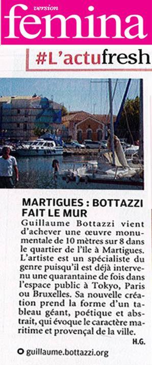 Art public : article au sujet de Guillaume Bottazzi sur le Magazine Fémina Provence, septembre 2018