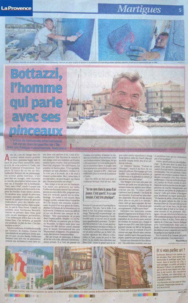Art dans l'espace public: article au sujet de Guillaume Bottazzi sur La Provence