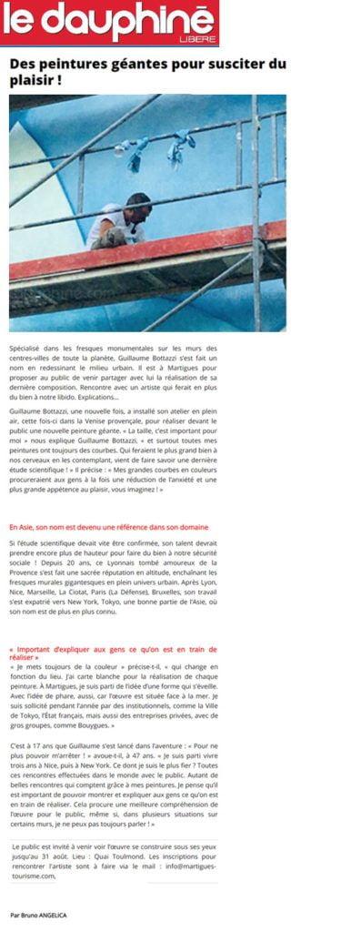Guillaume Bottazzi, article sur Le Dauphiné Libéré, août 2018