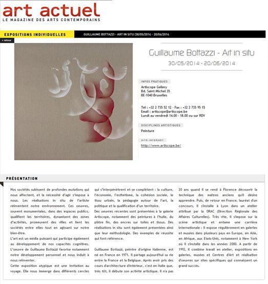 Guillaume Bottazzi on the French Art Magazine, Art Actuel, 2014