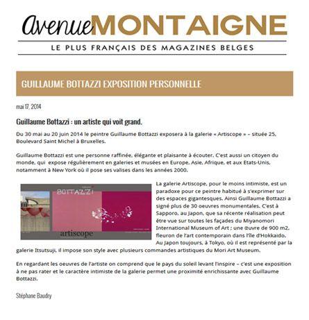 About the artist Guillaume Bottazzi on the Belgium Magazine avenue Montaigne