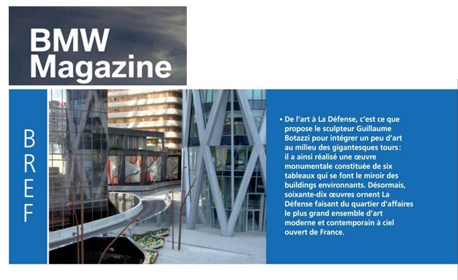 Art public Paris, article au sujet de Guillaume Bottazzi sur BMW Magazine