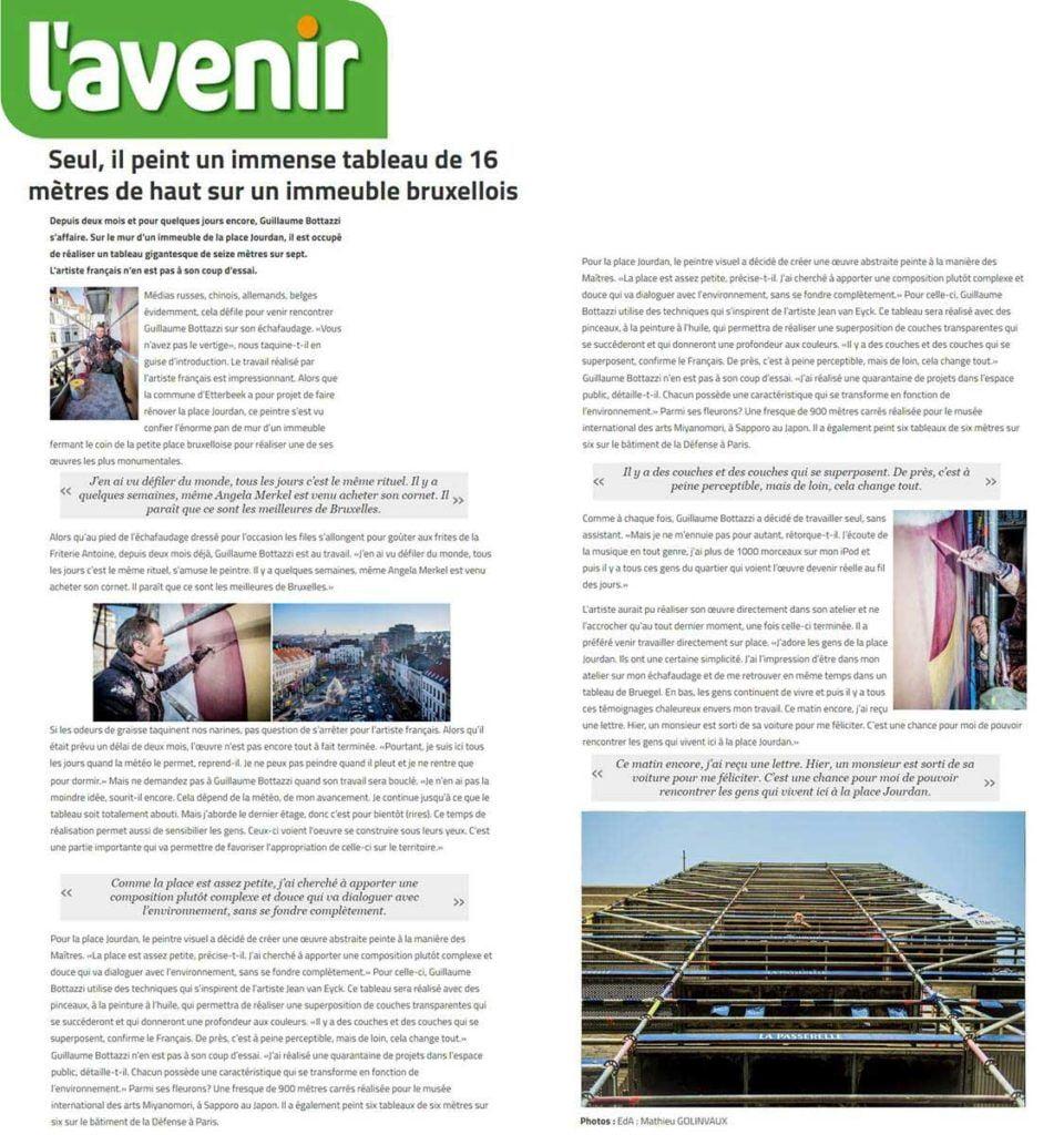 Art public : article au sujet de Guillaume Bottazzi sur le quotidien national Belge L'Avenir