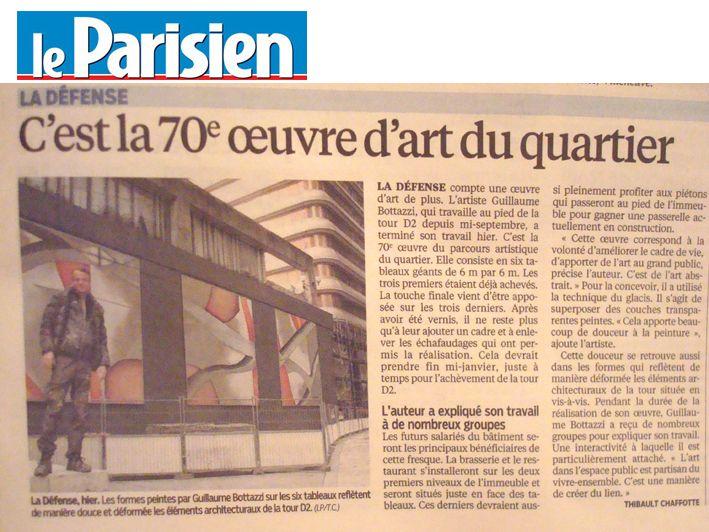 Art public Paris, Guillaume Bottazzi, article sur Le Parisien