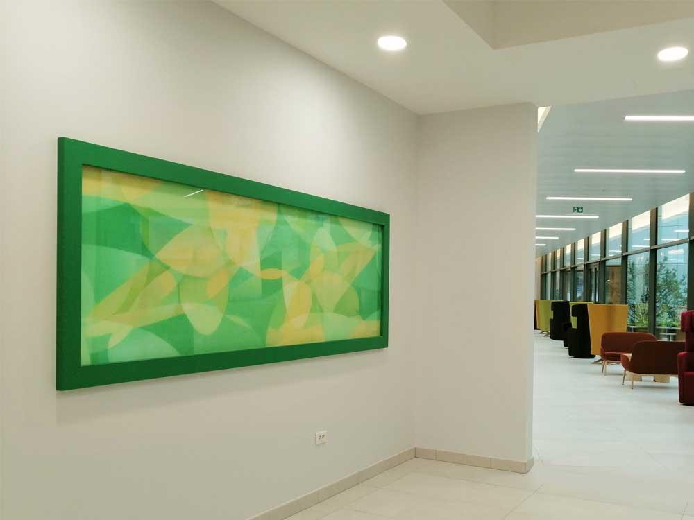 Guillaume Bottazzi, art public, emaux sur verre réalisés pour le siège social d'Orange en France