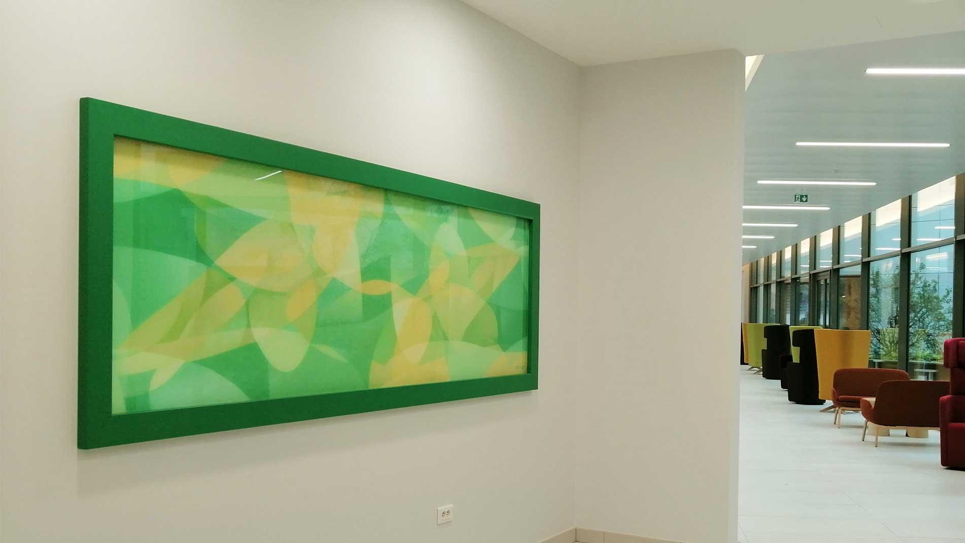 Guillaume Bottazzi, art public intérieur, émaux sur verre
