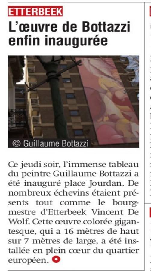Art public : article au sujet de Guillaume Bottazzi dans La Capitale, mars 2017