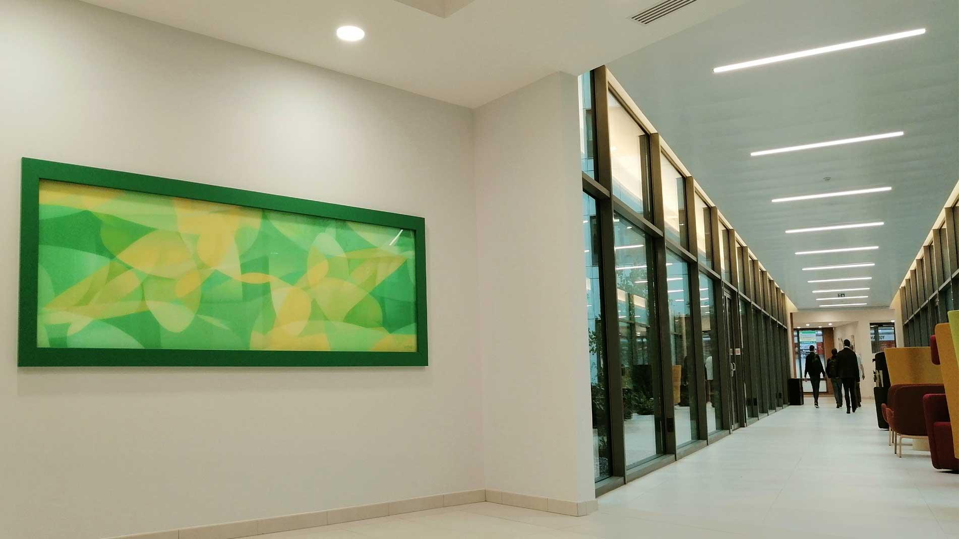 Guillaume Bottazzi, public art indoor, enamels on glass, France