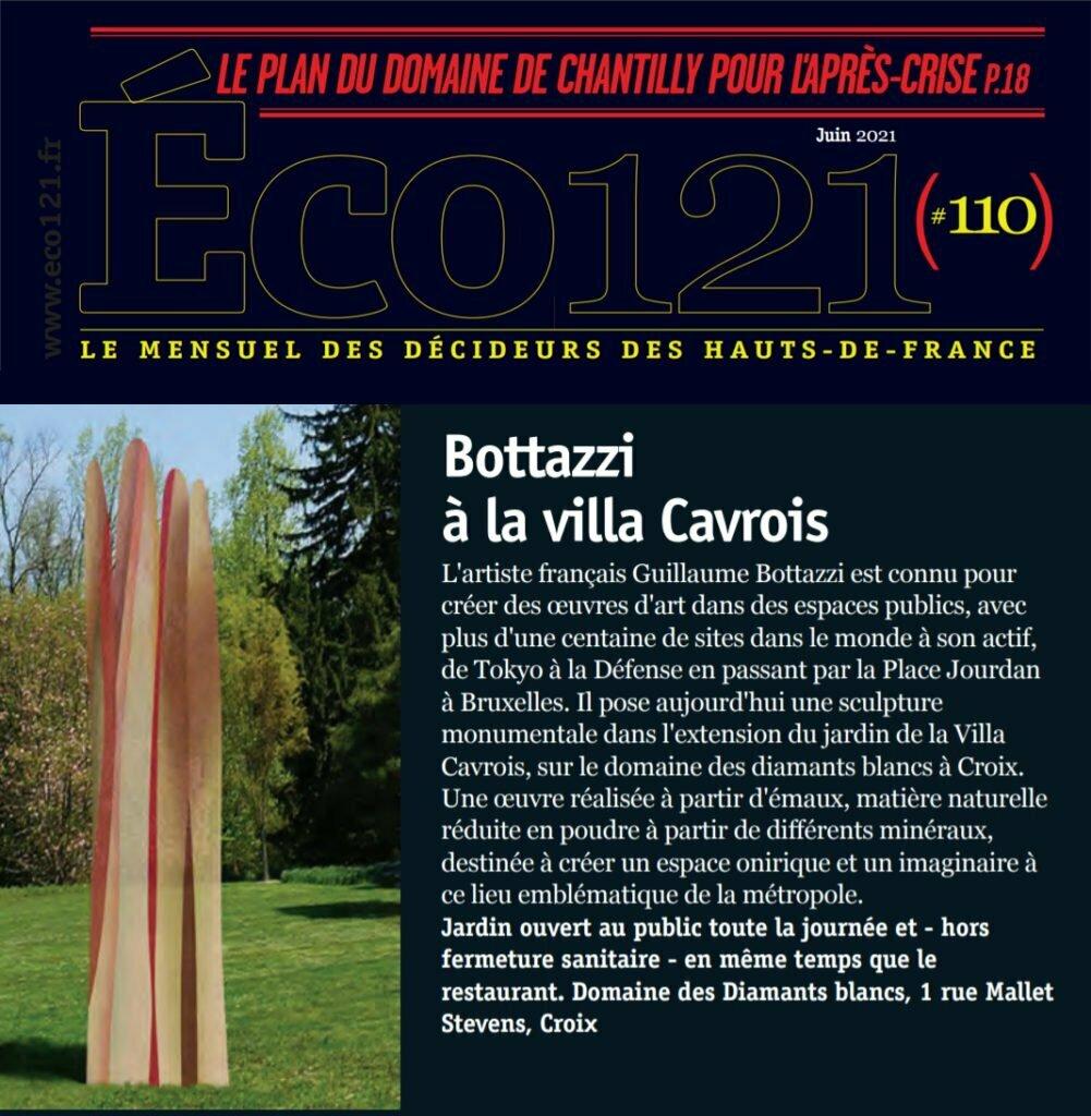 La sculpture de Guillaume Bottazzi à Croix, article sur Eco121, le mensuel des décideurs des Hauts-de-France, juin 2021