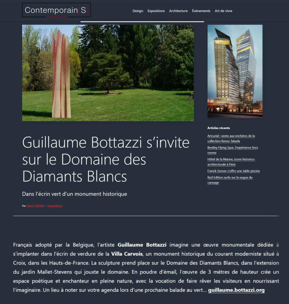 Article au sujet de la sculpture environnementale de Guillaume Bottazzi par le magazine Contemporain(s), mars 2021