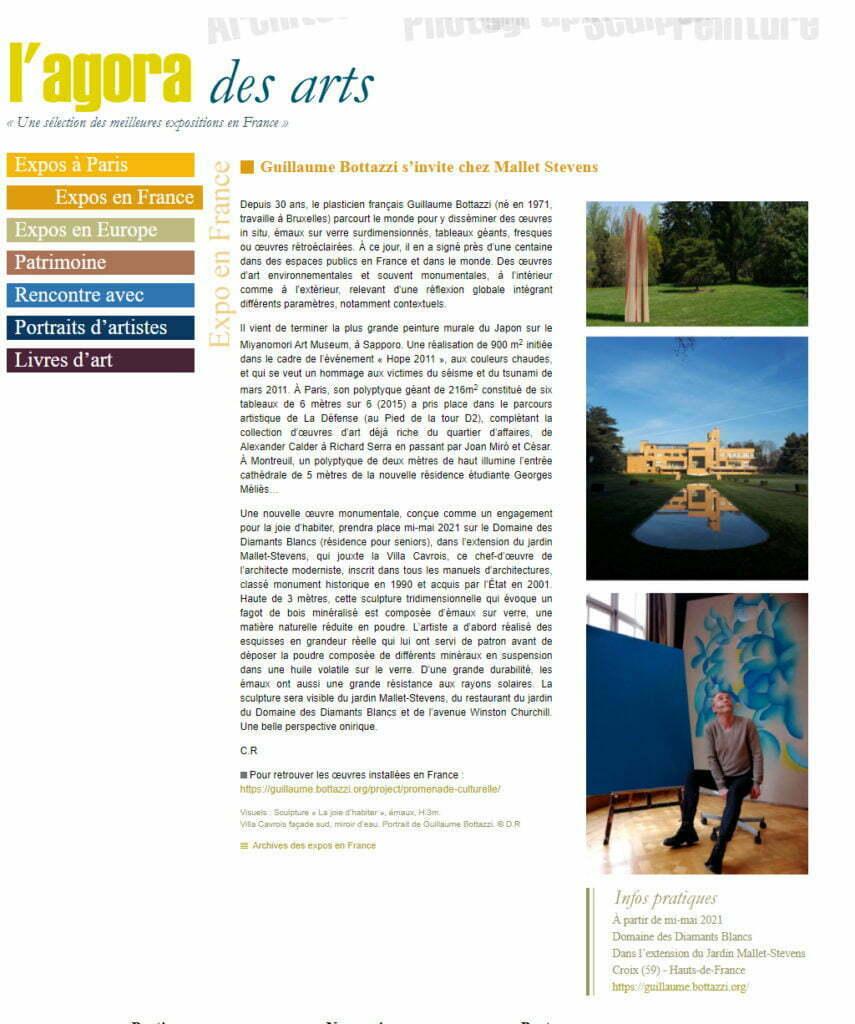 Article au sujet de la sculpture en verre de Guillaume Bottazzi sur l'Agora des Arts, mai 2021