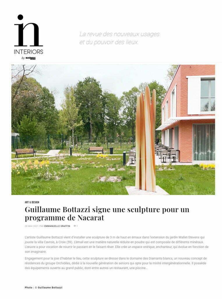 Article au sujet de la sculpture de Guillaume Bottazzi à Croix dans la Voix du Nord, mai 2021