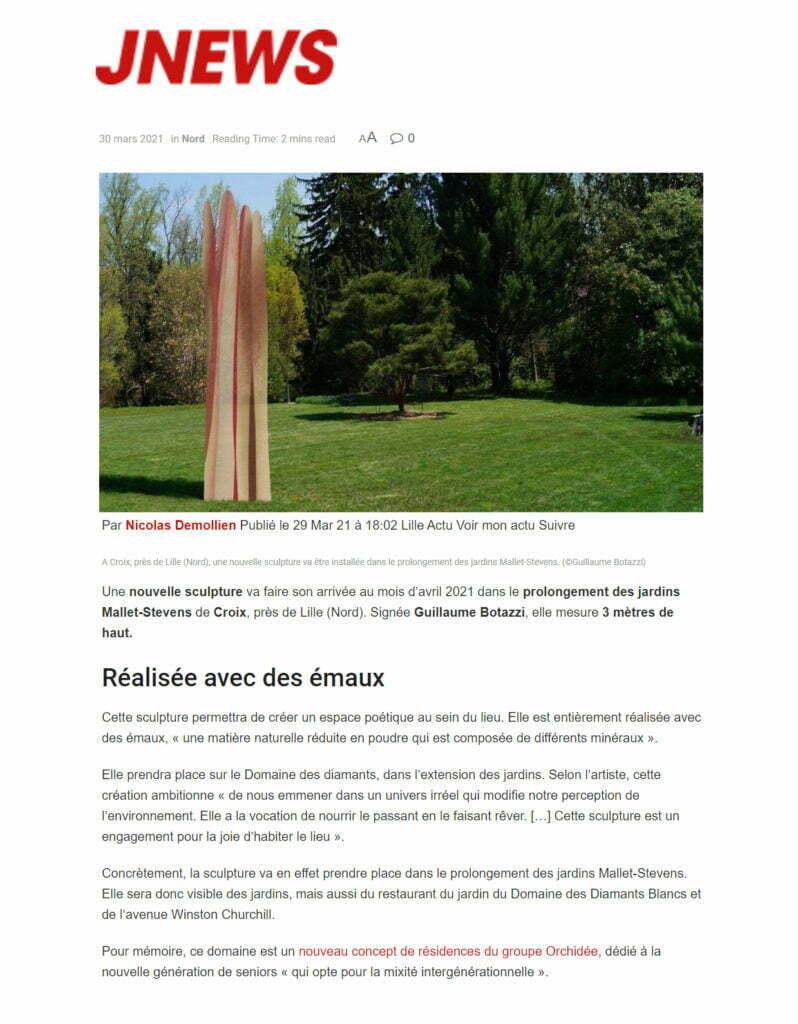 Article au sujet de la sculpture environnementale de Guillaume Bottazzi sur JNEWS, mars 2021