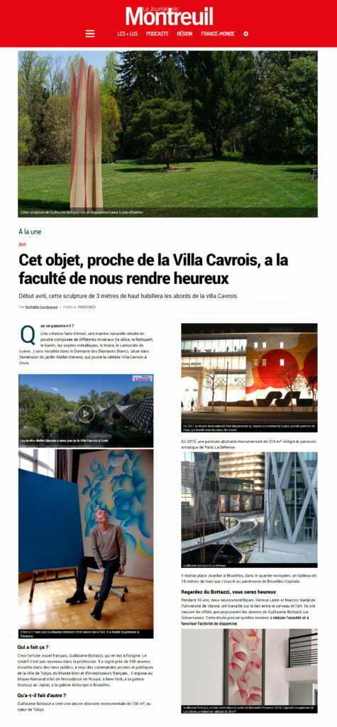 Article au sujet de la sculpture environnementale de Guillaume Bottazzi sur le Journal de Montreuil, mars 2021