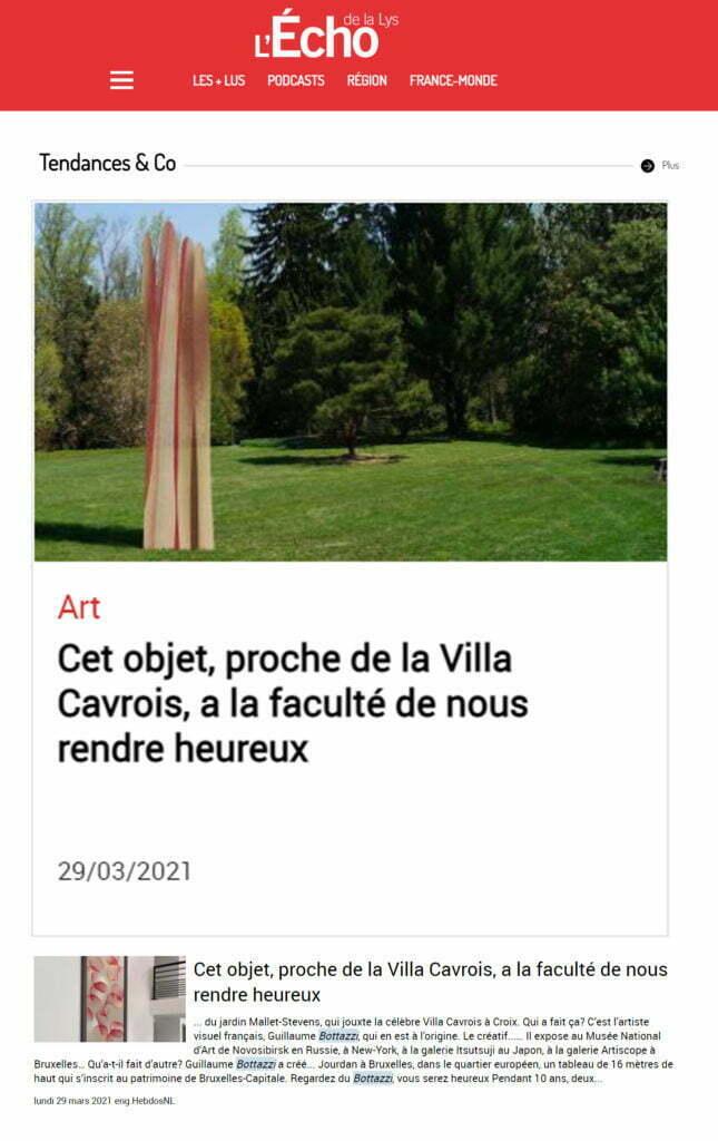Article au sujet de la sculpture environnementale de Guillaume Bottazzi dans l'Echo de la Lys, mars 2021