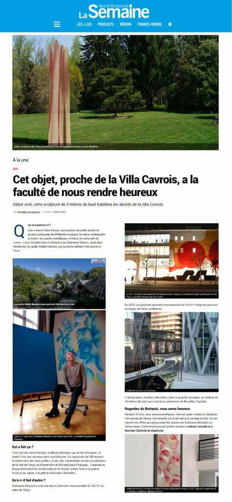 Article au sujet de la sculpture environnementale de Guillaume Bottazzi dans la Semaine dans le Boulonnais, mars 2021