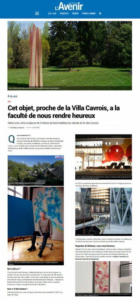 Article au sujet de la sculpture environnementale de Guillaume Bottazzi dans l'Avenir de l'Artois, mars 2021