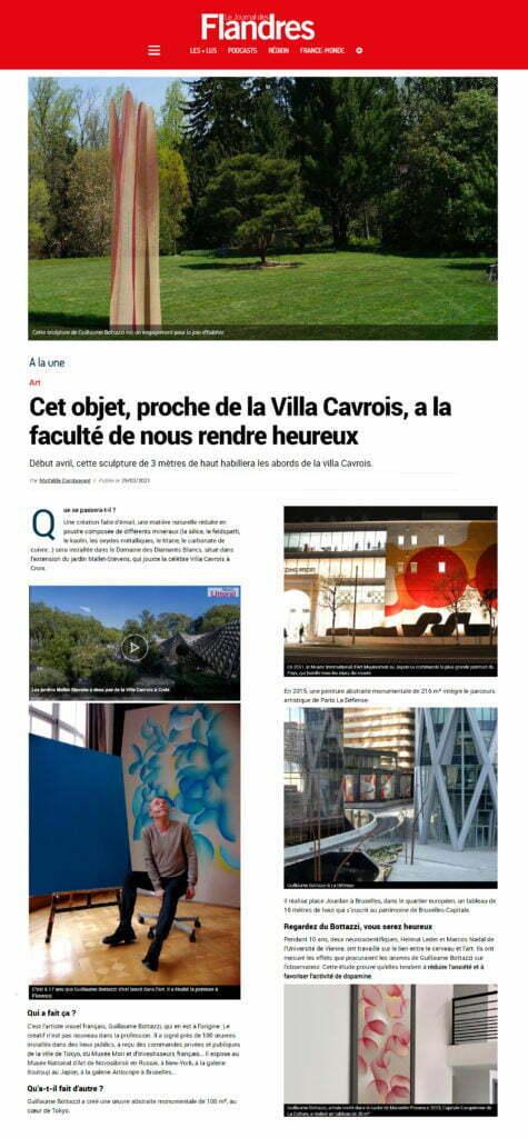 Article au sujet de la sculpture environnementale de Guillaume Bottazzi dans le Journal des Flandres, mars 2021