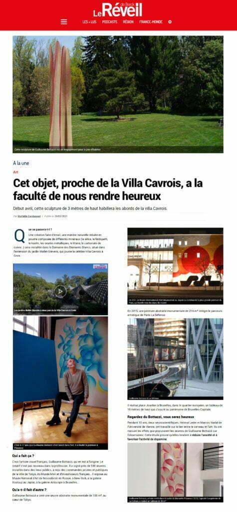 Article au sujet de la sculpture environnementale de Guillaume Bottazzi dans Le Réveil de Berck, mars 2021