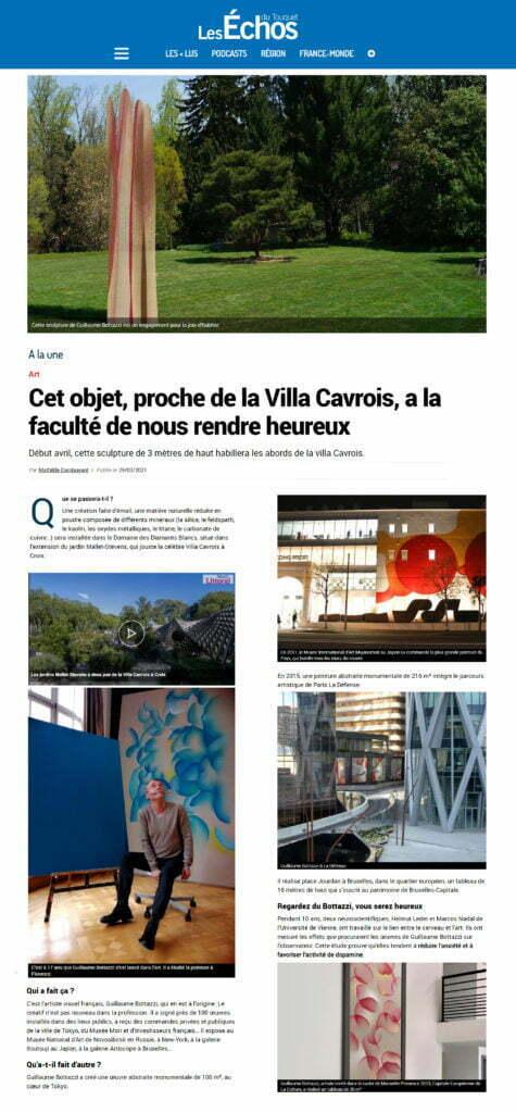 Article au sujet de la sculpture environnementale de Guillaume Bottazzi dans Les Echos du Touquet, mars 2021