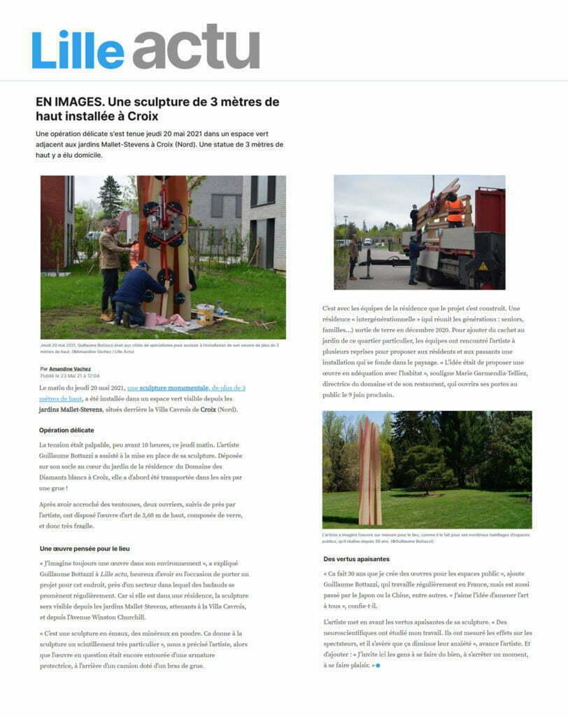 Article au sujet de l'artiste Guillaume Bottazzi et de sa sculpture monumentale à Croix sur Lille actu, mai 2021