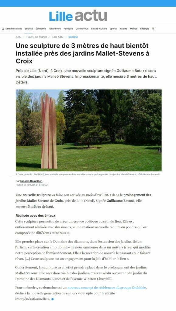 Article au sujet de la sculpture environnementale de Guillaume Bottazzi dans Lille Actu, mars 2021