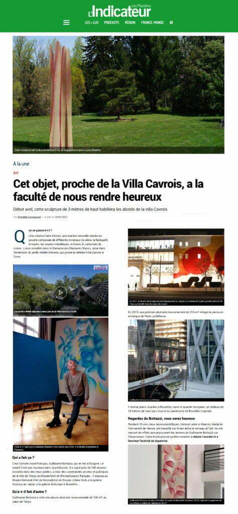Article au sujet de la sculpture environnementale de Guillaume Bottazzi dans L'indicateur des Flandres, mars 2021