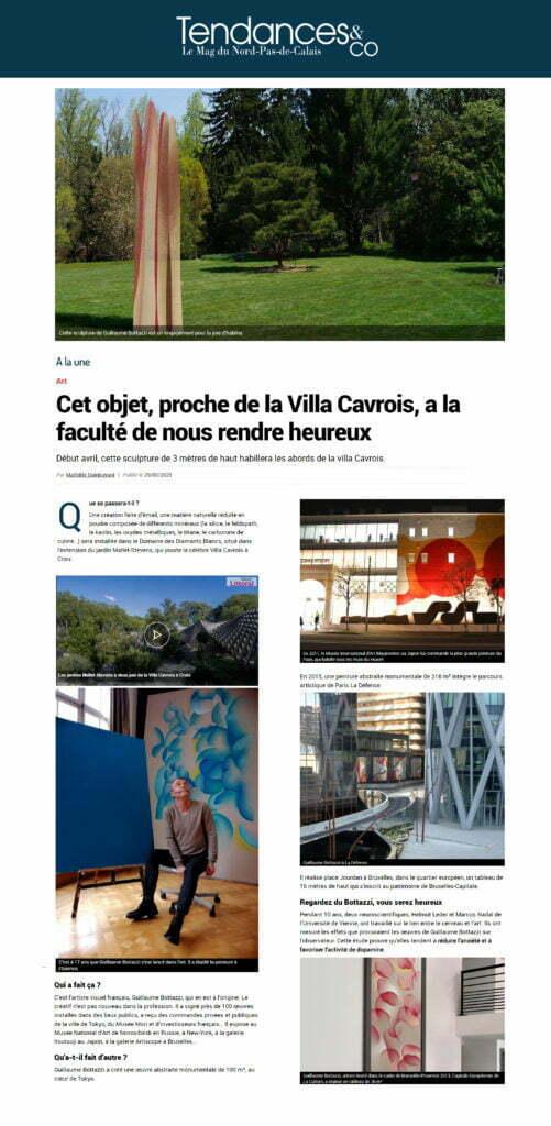 Article au sujet de Guillaume Bottazzi, une sculpture monumentale, sur le journal Tendances & co, mars 2021