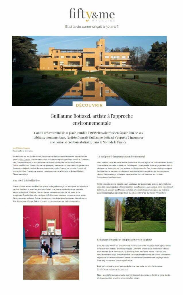 Article au sujet de la sculpture environnementale de Guillaume Bottazzi sur le magazine Fifty & me, mars 2021