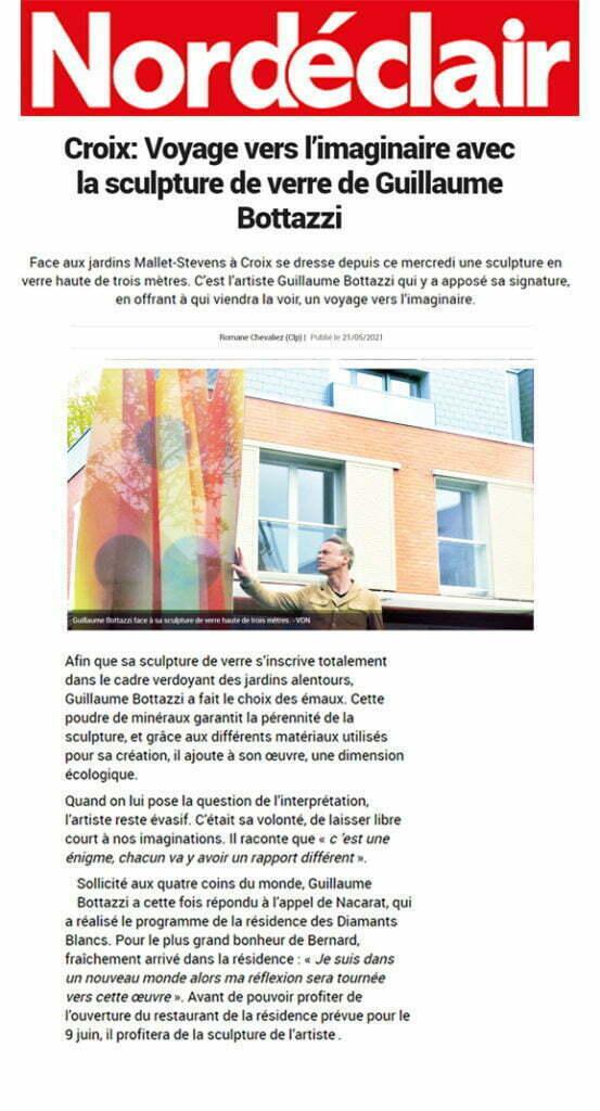 Article sur Nord Eclair au sujet de la sculpture de Guillaume Bottazzi à Croix