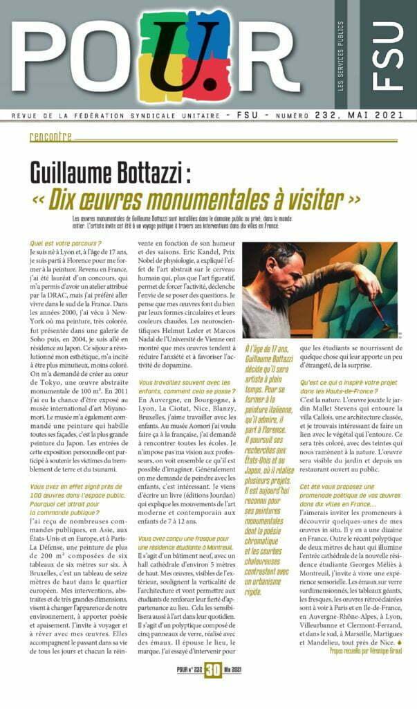 Article au sujet de Guillaume Bottazzi, revue POUR, SFU, mai 2021