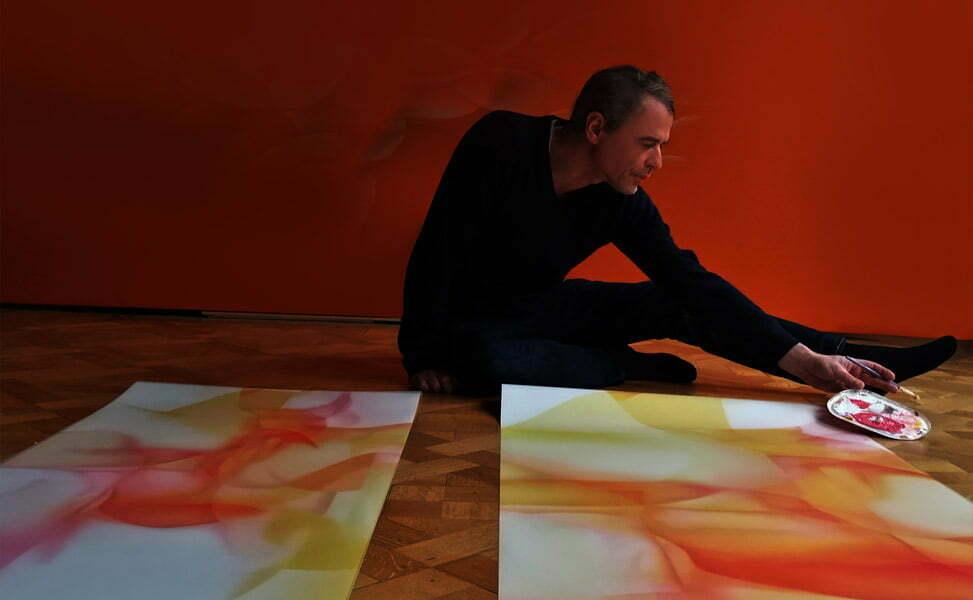 Guillaume Bottazzi, l'artiste dans son atelier, création en cours, décembre 2020