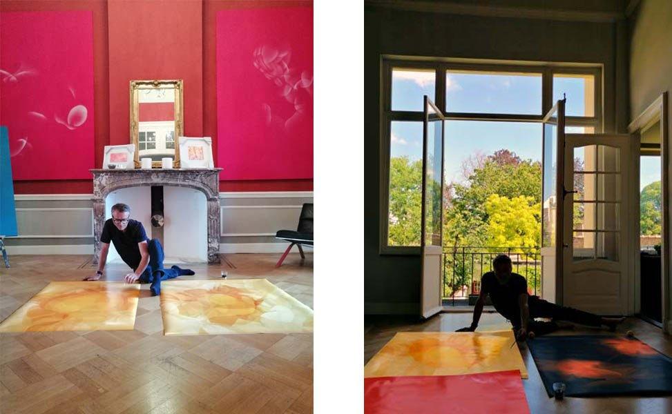 Guillaume Bottazzi in its artist studio, work in progress