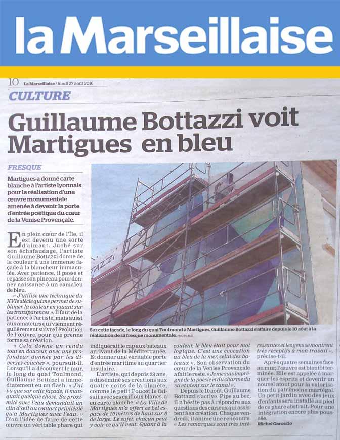 Art public Côte d'Azur : article au sujet de Guillaume Bottazzi sur La Marseillaise en 2018