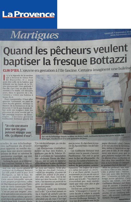 Art public Côte d'Azur : article au sujet de Guillaume Bottazzi sur La Provence en 2018