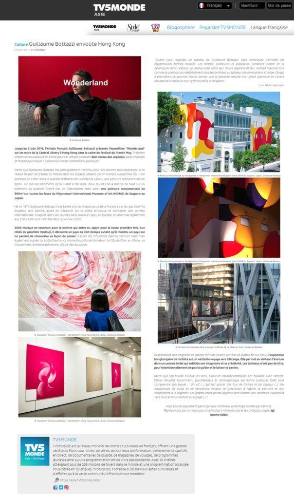 TV5 Monde Asie au sujet de l'artiste Guillaume Bottazzi à Hong Kong