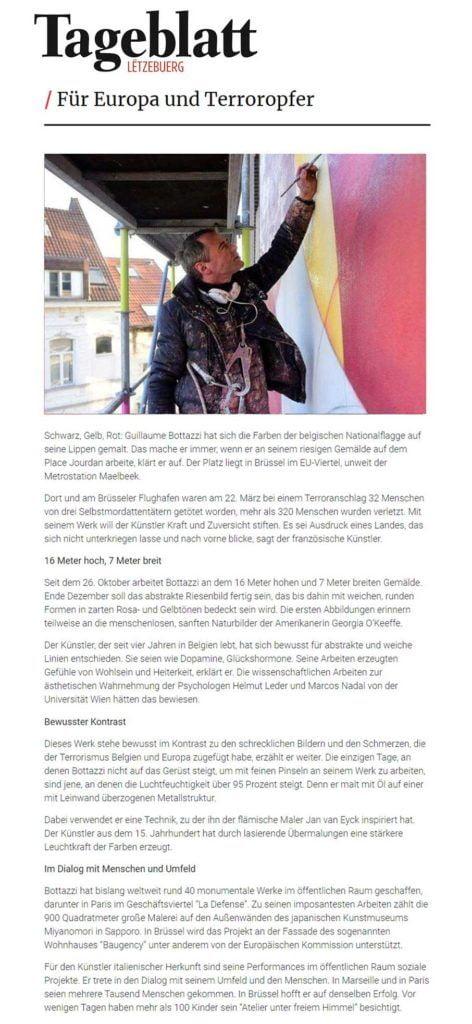 Tageblatt, article about Guillaume Bottazzi