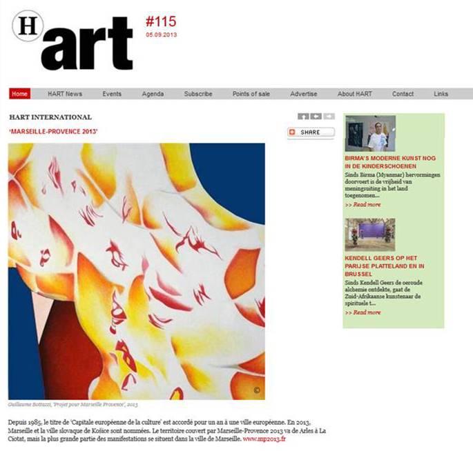 Art public, acticle au sujet de Guillaume Bottazzi sur le magazine d'art Belge H Art