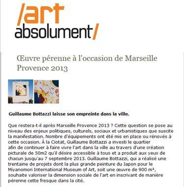 Article au sujet de l'artiste Guillaume Bottazzi sur le magazine Art Absolument, juin 2020