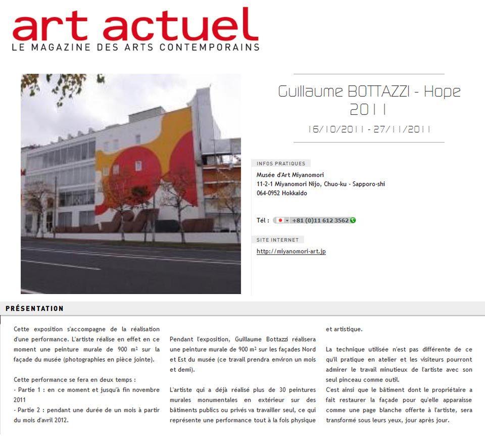 Art public : Guillaume Bottazzi, Art Actuel magazine