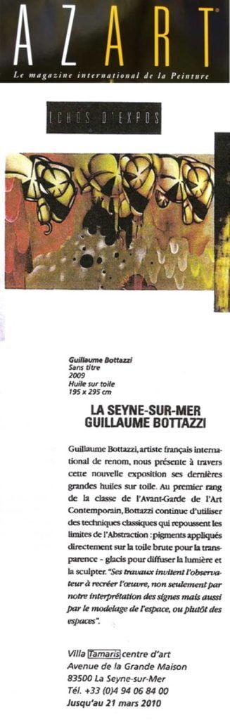 Article au sujet de l'artiste Guillaume Bottazzi sur le magazine d'art Azart