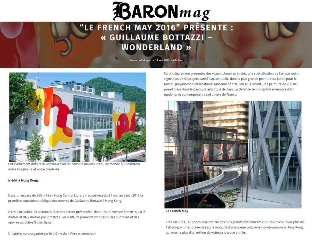 Article au sujet de l'artiste Guillaume Bottazzi sur le magazine Baron