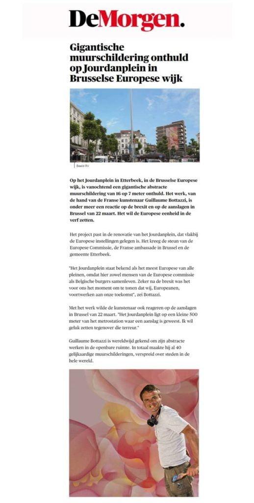 Article about Guillaume Bottazzi on the Belgium newspaper De Morgen
