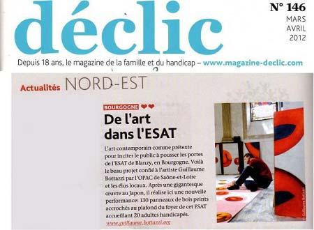 Article au sujet de l'artiste Guillaume Bottazzi sur le magazine Déclic, consacré aux personnes handicapées
