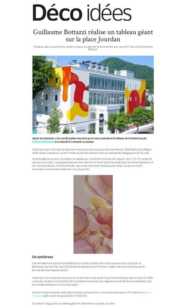 Article au sujet de l'artiste Guillaume Bottazzi sur le magazine Déco idées
