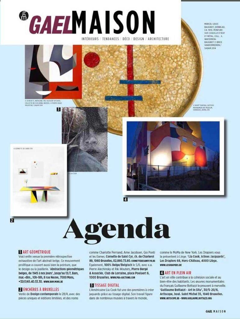 Article au sujet de l'artiste Guillaume Bottazzi sur le magazine Gael Maison