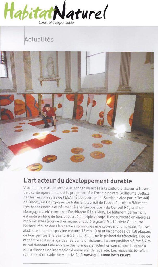 Art public : article au sujet de Guillaume Bottazzi sur le magazine Habitat Naturel en 2012