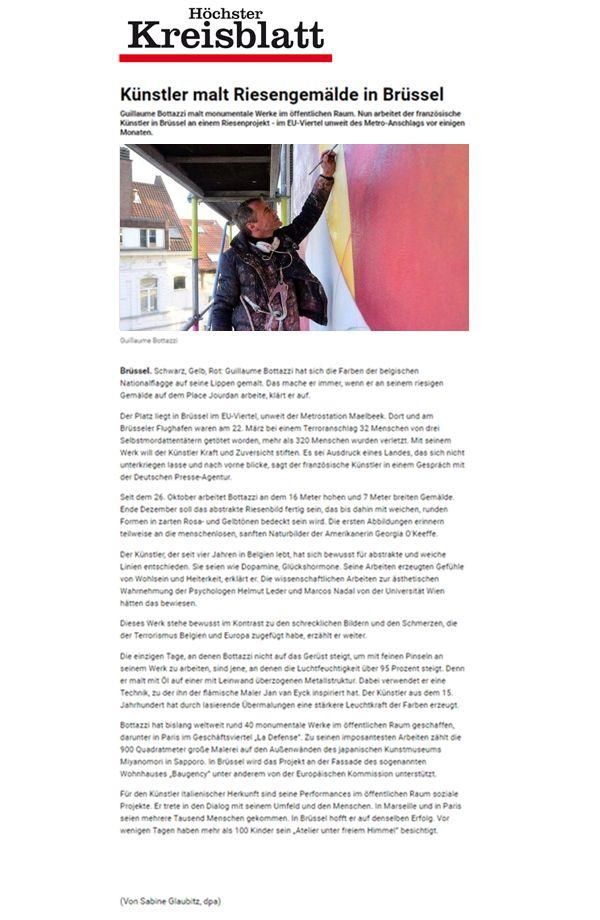 Article about the artist Guillaume Bottazzi on the German newspaper Höchster Kreisblatt