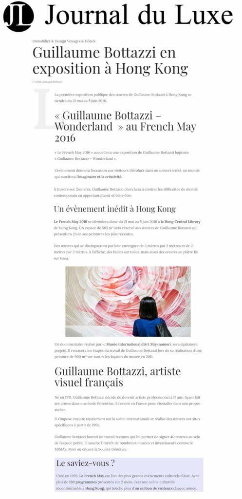 Article au sujet de l'artiste visuel Guillaume Bottazzi sur Le Journal du Luxe