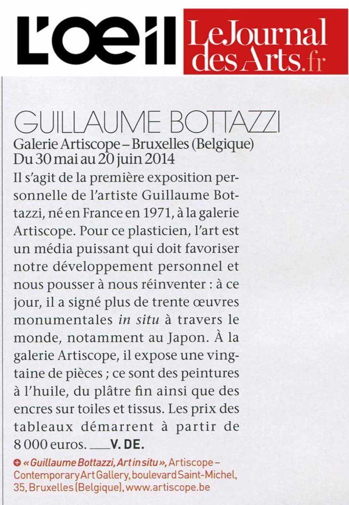 Article sur le magazine d'art l'Oeil, au sujet de l'artiste Guillaume Bottazzi et de son exposition à la galerie Artiscope à Bruxelles